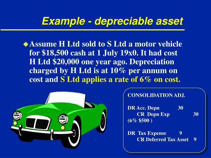 Example - depreciable asset