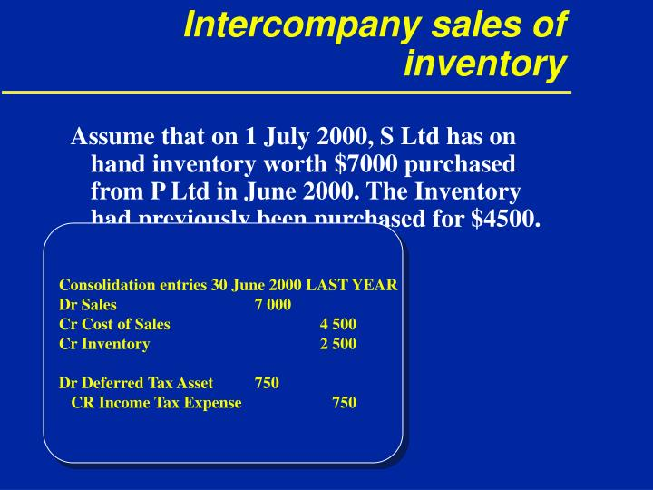 Intercompany sales of inventory