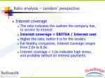 ratio analysis lenders perspective1