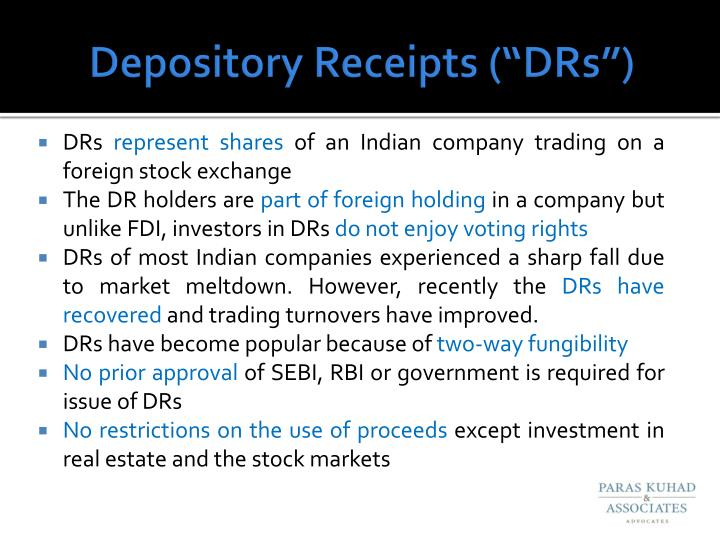 """Depository Receipts (""""DRs"""")"""