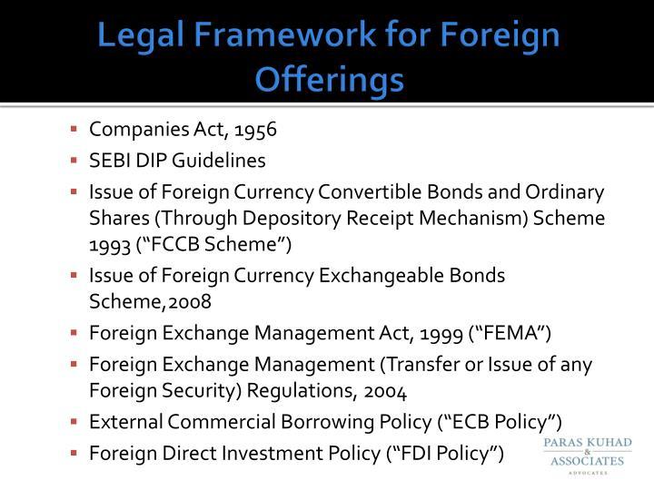 Legal Framework for Foreign Offerings