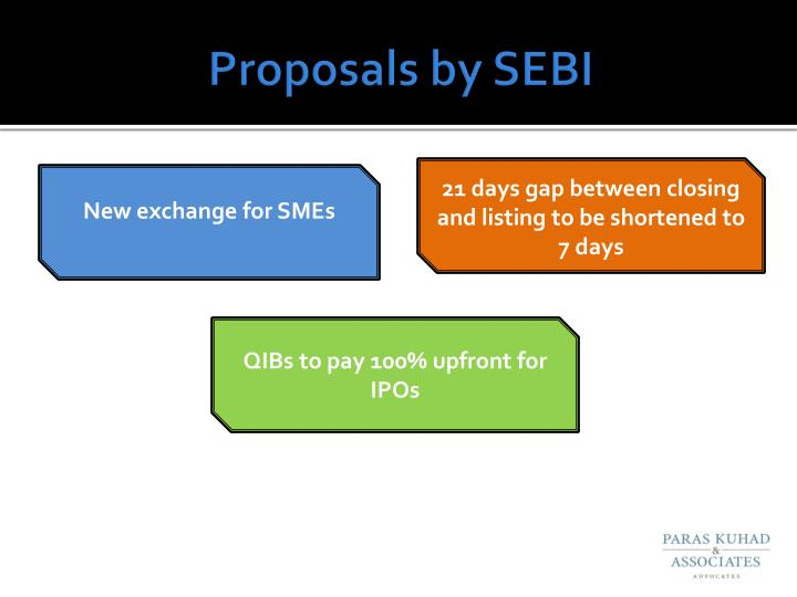 Proposals by SEBI