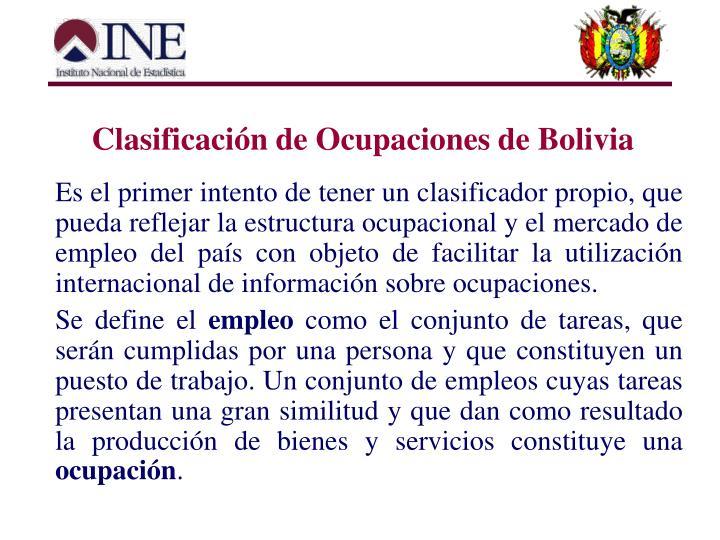 Clasificación de Ocupaciones de Bolivia
