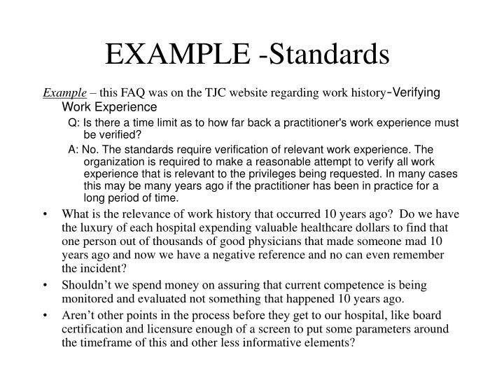 EXAMPLE -Standards