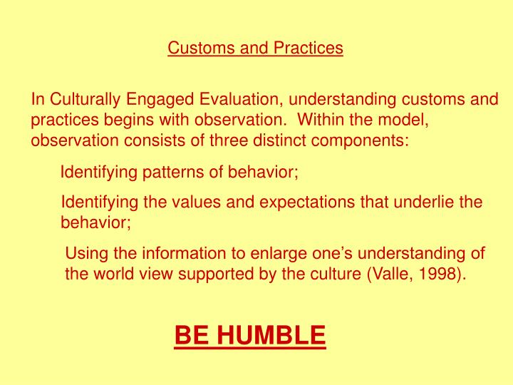 Customs and Practices