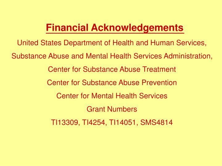 Financial Acknowledgements