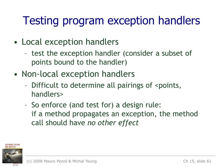 Testing program exception handlers