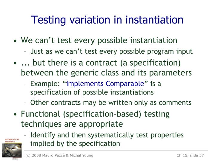Testing variation in instantiation