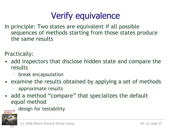Verify equivalence