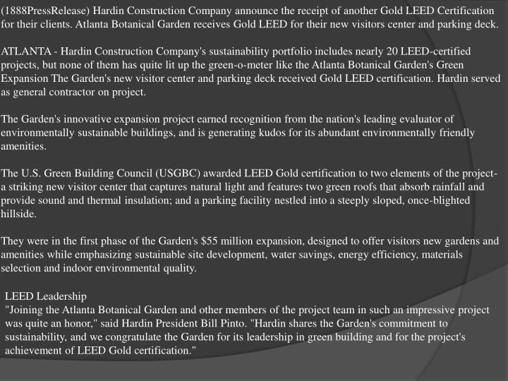 (1888PressRelease) Hardin Construction Company announce the receipt of another Gold LEED Certificati...