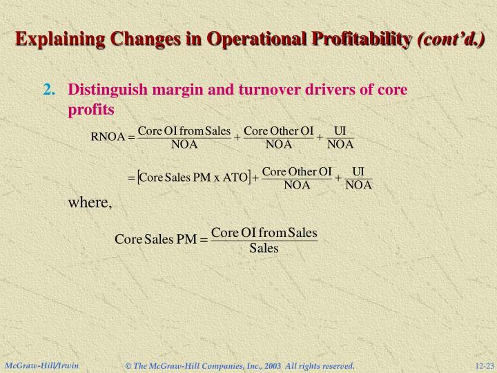 Explaining Changes in Operational Profitability