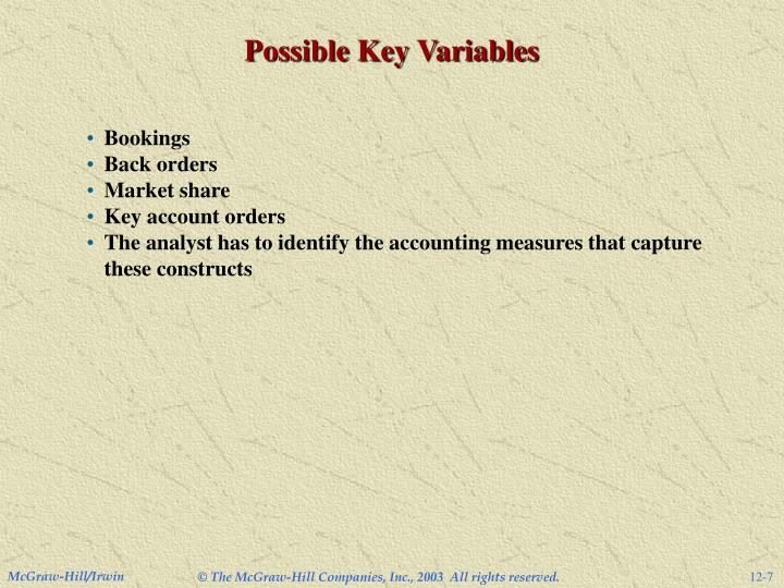 Possible Key Variables