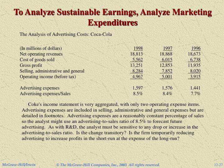 To Analyze Sustainable Earnings, Analyze Marketing Expenditures