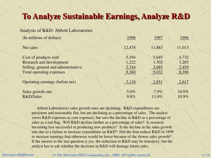 To Analyze Sustainable Earnings, Analyze R&D