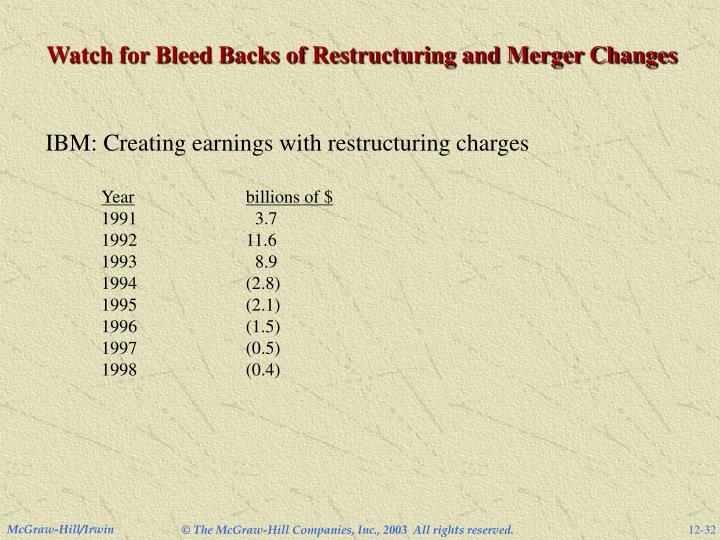 Watch for Bleed Backs of Restructuring and Merger Changes