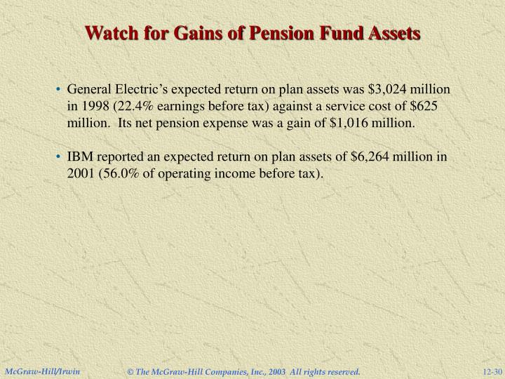 Watch for Gains of Pension Fund Assets