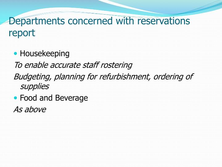 Departments concerned with reservations report