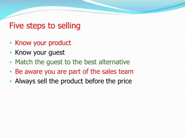 Five steps to selling
