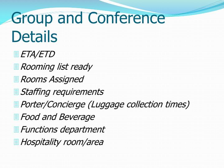 Group and Conference Details