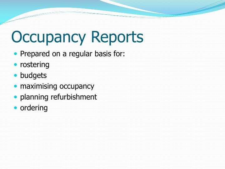 Occupancy Reports