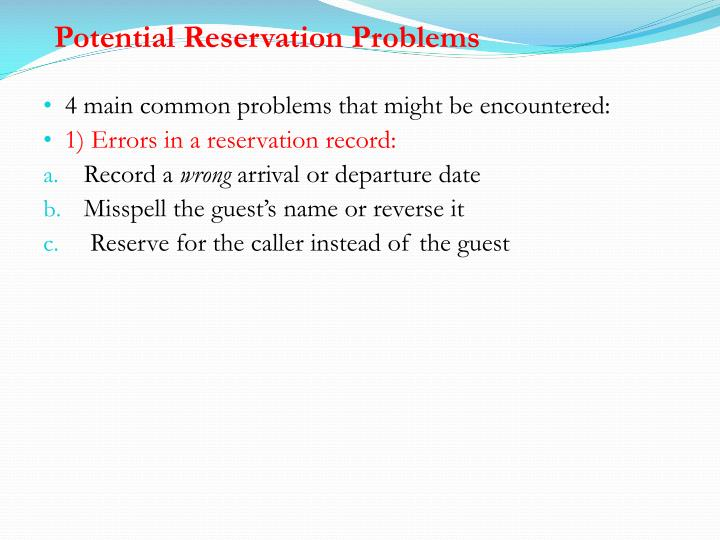 Potential Reservation Problems