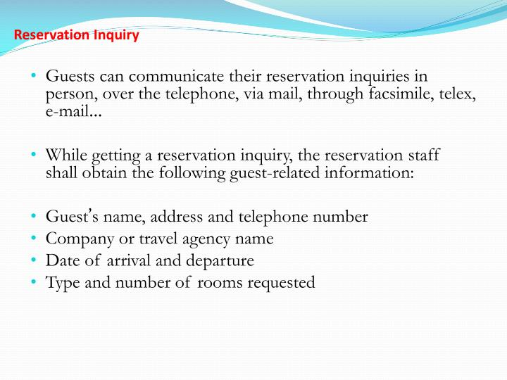Reservation Inquiry
