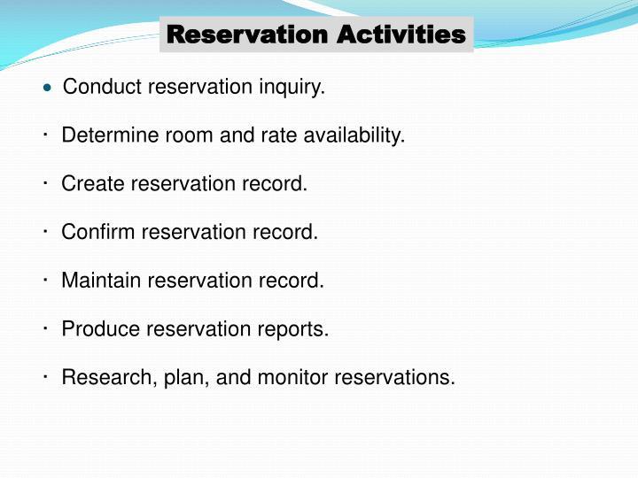 Reservation Activities
