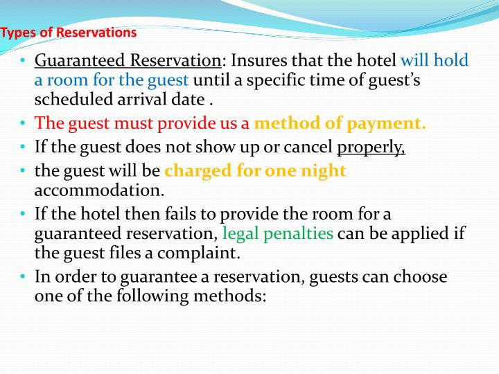Types of Reservations