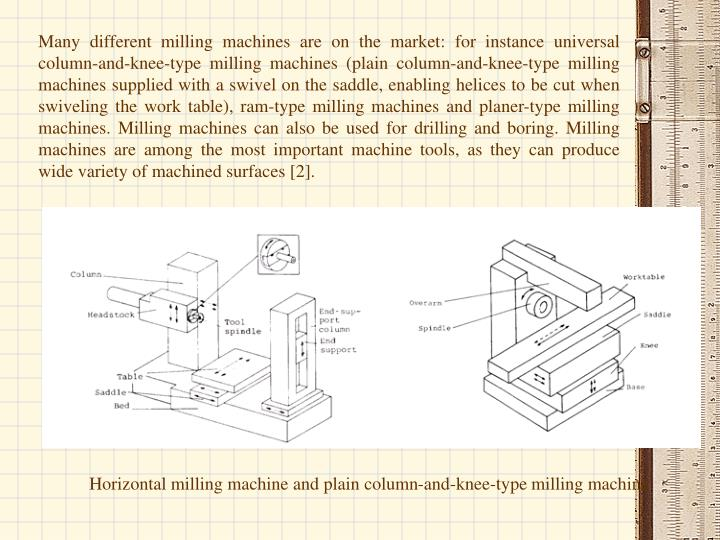 Many different milling machines are on the market: for instance universal column-and-knee-type milling machines (plain column-and-knee-type milling machines supplied with a swivel on the saddle, enabling helices to be cut when swiveling the work table), ram-type milling machines and planer-type milling machines. Milling machines can also be used for drilling and boring. Milling machines are among the most important machine tools, as they can produce wide variety of machined surfaces [2].