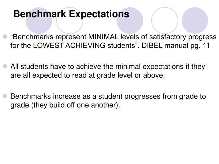 Benchmark Expectations