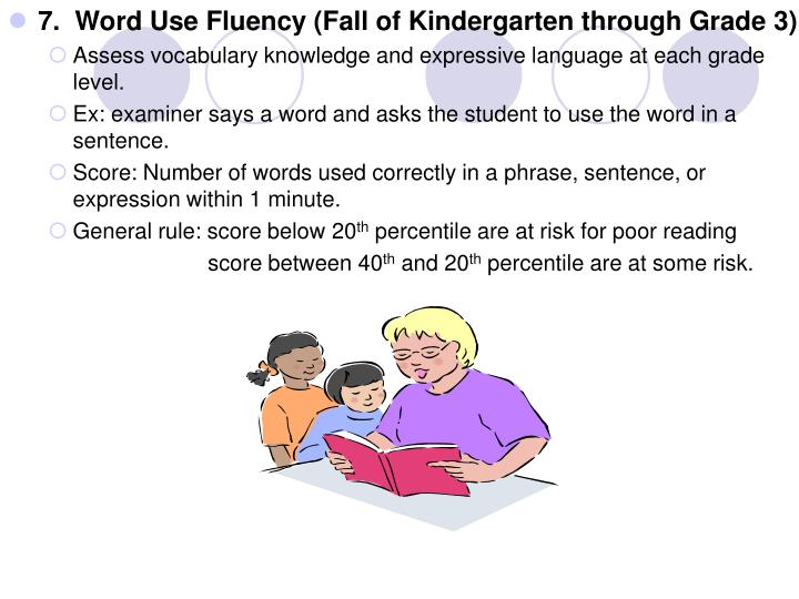 7.  Word Use Fluency (Fall of Kindergarten through Grade 3)