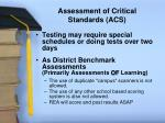 assessment of critical standards acs