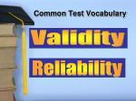common test vocabulary