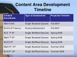 content area development timeline