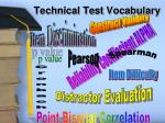 technical test vocabulary