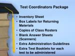 test coordinators package