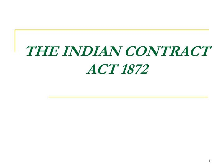 the indian contract act 1872 n.