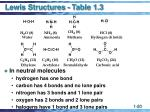 lewis structures table 1 3