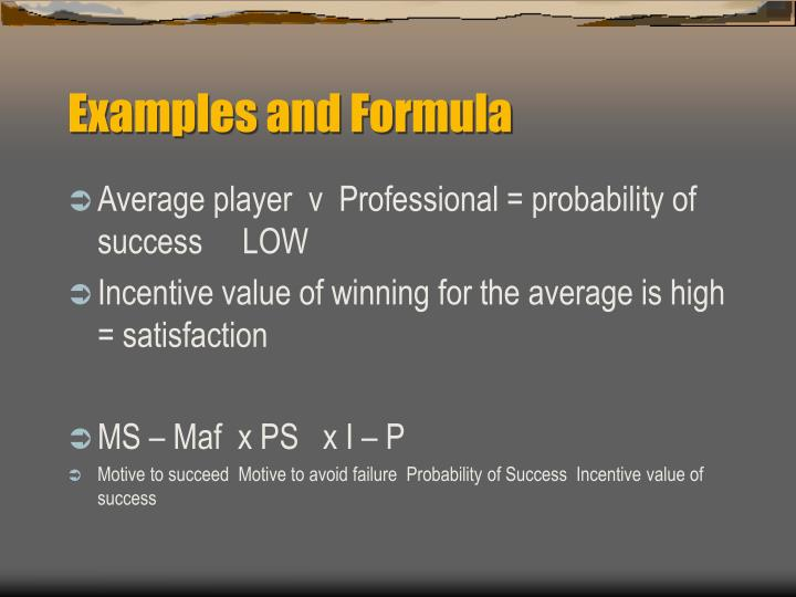 Examples and Formula