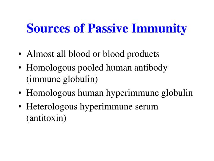 Sources of Passive Immunity