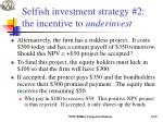 selfish investment strategy 2 the incentive to underinvest