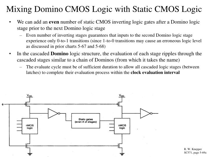 Mixing Domino CMOS Logic with Static CMOS Logic