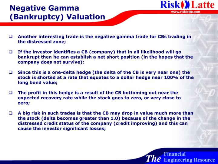 Negative Gamma (Bankruptcy) Valuation