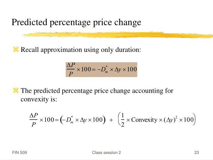 Predicted percentage price change