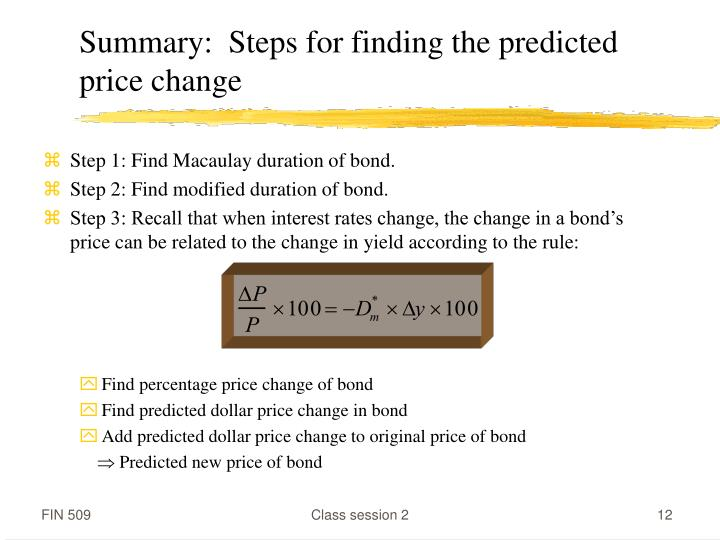 Summary:  Steps for finding the predicted