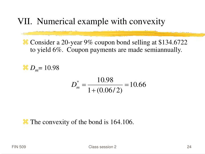 VII.  Numerical example with convexity