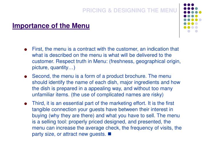 Importance of the Menu