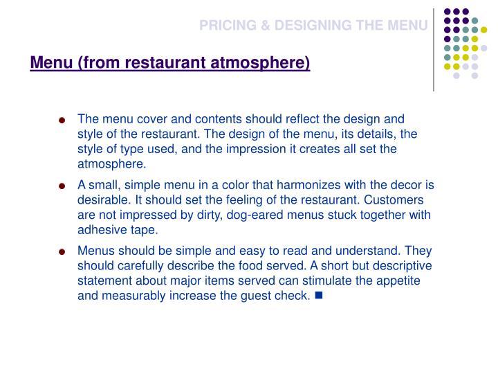 Menu (from restaurant atmosphere)