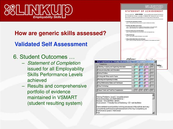 How are generic skills assessed?