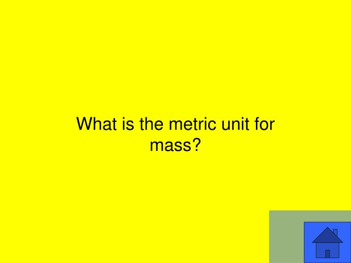 What is the metric unit for mass?